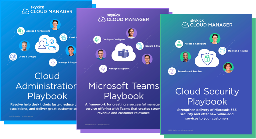 All three Cloud Manager Playbooks. Cloud Administration playbook, Microsoft Teams playbook and Cloud security playbook