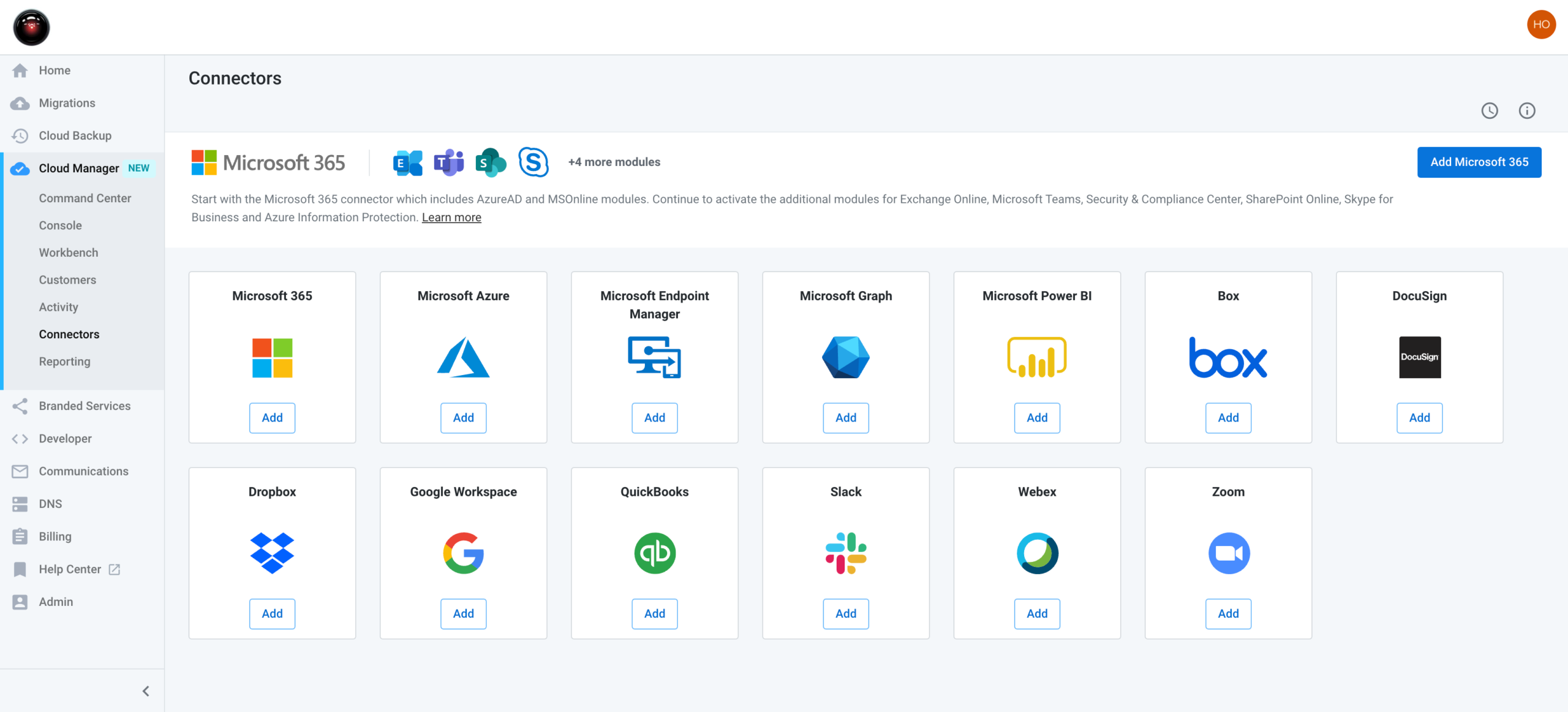 Cloud manager product view of cross SaaS user management