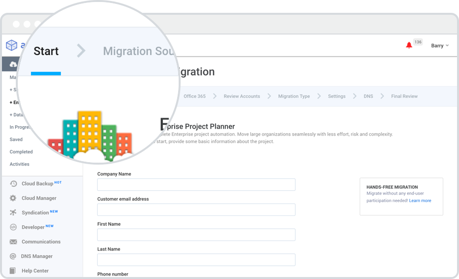 migration automation dashboard