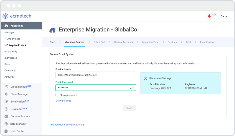 enterprise migration dashboard